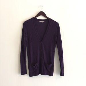 Gap purple v neck button front cardigan, XS